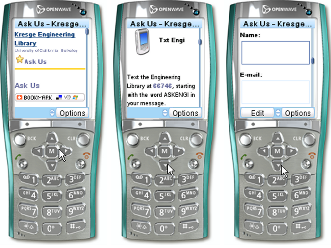 three screen captures from a mobile device emulator showing the Engineering Library's Ask Us page