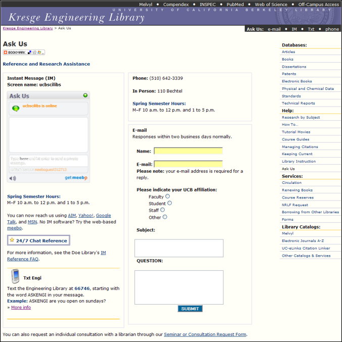 screen shot of the Engineering Library's Ask Us page, as shown on a computer monitor